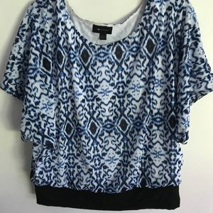 Banded Waist Blouse Blue Pattern Career Work Top